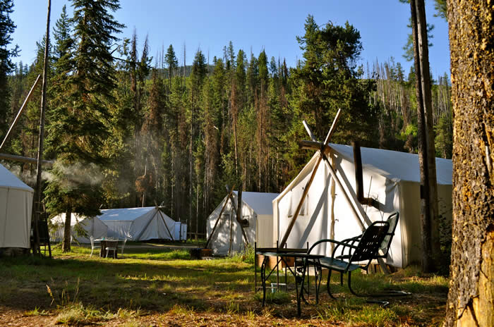 camping in heated wall tents